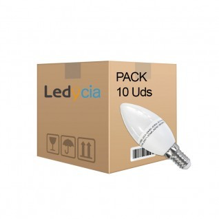 Pack 10 bombilla led vela E14 6W