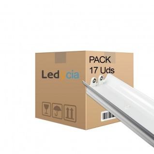 Pack de 17 soportes para 2 tubos led t8 120 cm