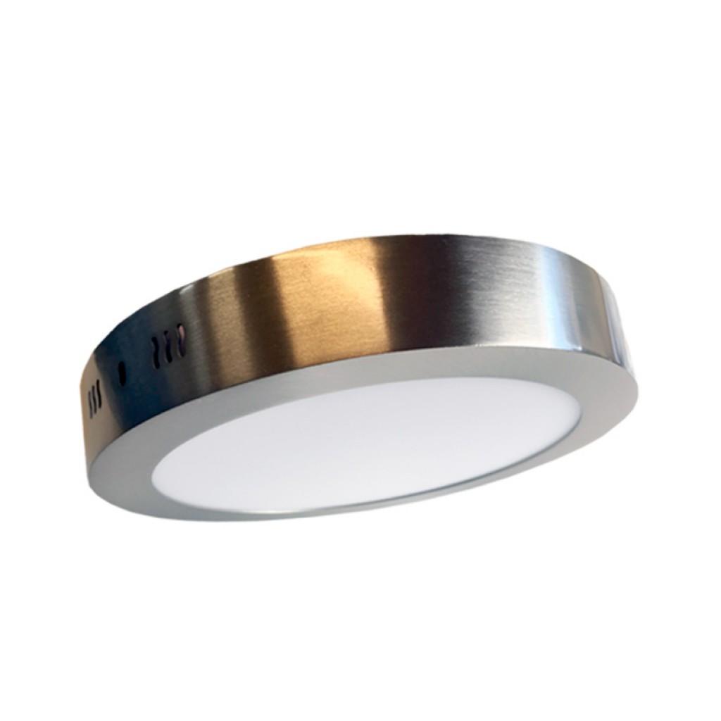 Plaf n techo led redondo plata 24w luz blanca for Plafon led techo